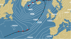 High pressure builds in later this weekend settling the weather down once more.
