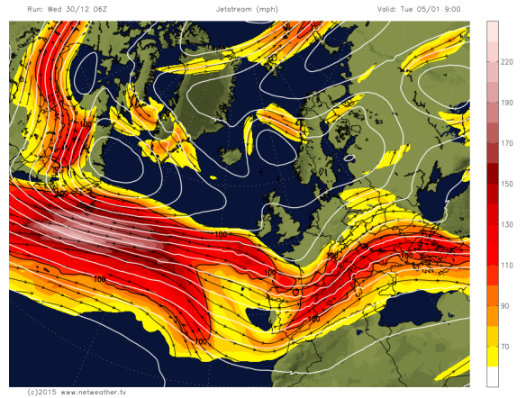 Jet Stream Tracks South