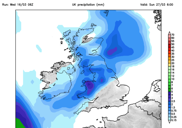 risk of a wet easter sunday